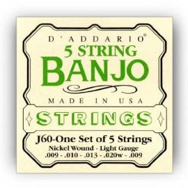 D'ADDARIO BANJO 5 CORDES JEU J60