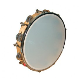 TAMBOURIN MUSICO PEAU REGLABLE 25CM CYMBALETTES 2739