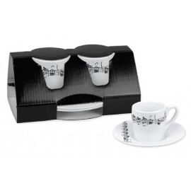TASSE EXPRESSO LOT DE DEUX PIECES NOTES DE MUSIQUE K852