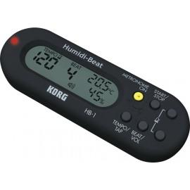 HYGROMETRE METRONOME KORG NOIR HB1 - Le métronome Korg HB1 WH est équipé d'un thermomètre, d'un capteur d'humidité et d'une horl