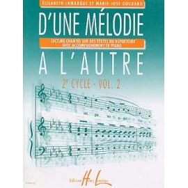 LAMARQUE D'UNE MELODIE A L'AUTRE 2EME CYCLE VOLUME 2