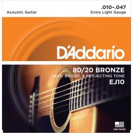 D'ADDARIO BRONZE X-LIGHT 10/47 JEU EJ10