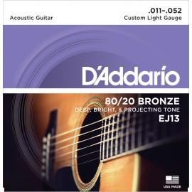 D'ADDARIO BRONZE CUSTOM LIGHT 11/52 JEU EJ13